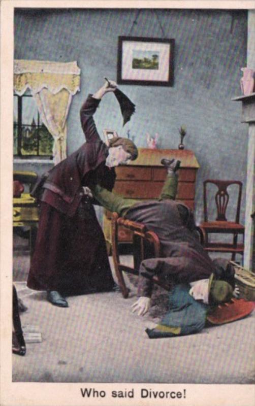 Bamforth Humour Woman Beating Man Who Said Divorce 1909