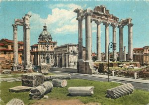 Postcard Italy Rome Roman Forum - The remain of Saturn's Temple
