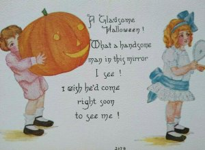 Vintage Halloween Postcard Boy Giant Pumpkin Girl Mirror 207 B FA Owen Unused