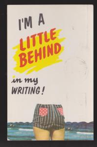 Comic Postcard - A Little Behind In Writing - Used