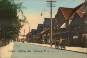 Newport RI Bellevue Ave NICE COLOR - Casino c1910 Postcard