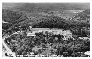 White Sulphur Springs West Virginia 1950s RPPC Photo Postcard Aerial Greenbriar
