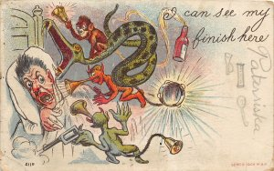 G19/ Interesting Postcard c1906 Bloomdale Ohio Nightmare Serpent Devils