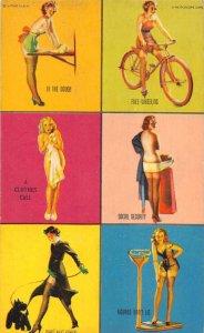 Pin Up Girls Riding Bike Walking Dog Mutoscope Vintage Arcade Card AA1129