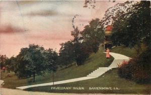 Davenport IA Lady in Red on Hillside~Steps, Fejenary Park Pavilion~1912 Postcard