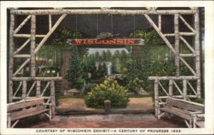1933 Chicago World's Fair Wisconsin Exhibit Linen Postcard