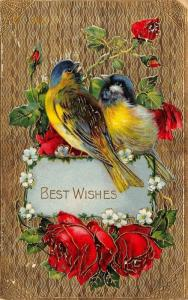 Blue Head Yellow Breast Birds on Red Rose Vine Portal~Gold Back GEL~Germany 1910