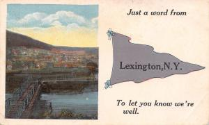 Just a Word from Lexington New York~Bridge Into Town~1915 Pennant Postcard