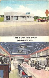 Burnt Hills NY Thee Burnt Hills Diner Multi-View Old Car Postcard