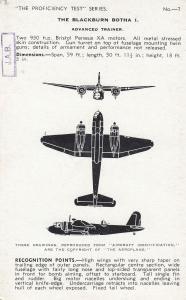 Blackburn Botha 1 I WW2 Plane Aircraft Recognition Postcard