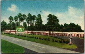Fayetteville, North Carolina Postcard SURLES MOTOR COURT Roadside Linen 1958