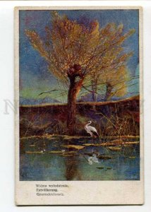 402767 HUNT Autumn STORK by CIECZKIEWICZ Vintage Poland PC