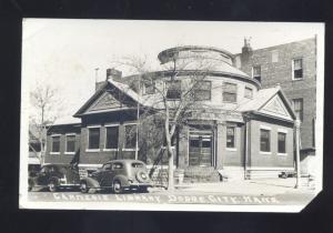 RPPC DODGE CITY KANSAS CARNEGIE LIBRARY 1930's CARS VITNAGE REAL PHOTO POSTCARD