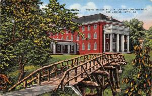 Des Moines IA~Rustic Wooden Footbridge to Veterans Hospital Columns~Linen 1940s