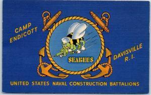 Davisville, RI WWII Postcard CAMP ENDICOTT U.S. Navy Seabees Logo 1943 Linen