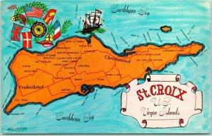 ST. CROIX, U.S. Virgin Islands Postcard Island Map / Flags c1960s Chrome Unused