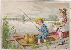 Boy in row boat fishing, pots, Girl on shore with flowers in apron, 1890s