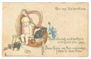 TUCK 3, From Many Lands,To my Valentine, Cupid sitting on bench with dachsh...