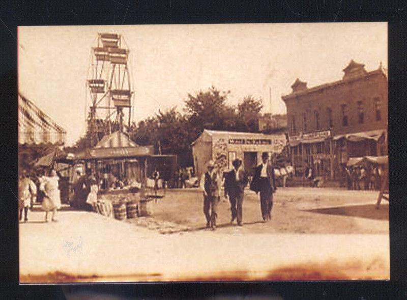 REAL PHOTO LITCHFIELD ILLINOIS STREET CARNIVAL DOWNTOWN POSTCARD COPY ILL
