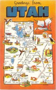 Utah Beehive State Map Card Greetings from Utah UT