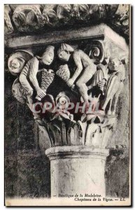 Postcard Old Vezelay Basilica of the Capital madeleine vine