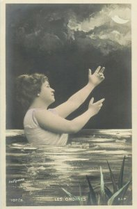 Mermaid Hand-Tinted Real Photo French fantasy surrealism lady moon Les ondines
