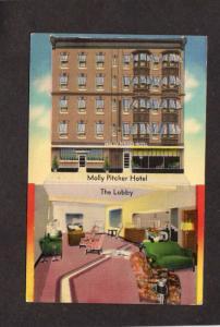 PA Molly Pitcher Hotel Interior Lobby Carlisle Penn Pennsylvania Postcard Linen