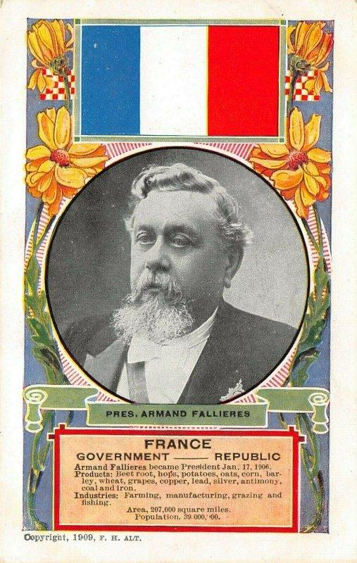 LP63  France President Armand Fallieres  Flag   Postcard