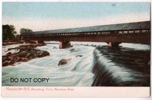 Covered Bridge, Amoskeag Falls, Merrimas River NH