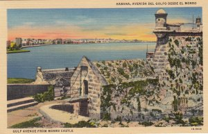 P1925 vintage postcard havana gulf ave from morro castle harbor etc unused