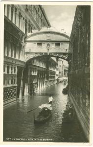 Italy, Venice, Venezia, Ponte dei Sospiri, 1943, used real