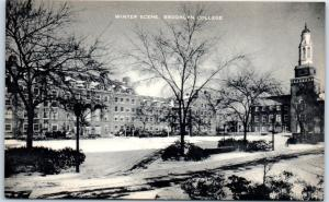 Brooklyn, New York Postcard Winter Scene, BROOKLYN COLLEGE Artvue 1930s Unused