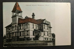 1911 Central School Bessemer Michigan Wisconsin Real Picture Postcard RPPC Cover