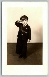 RPPC:Little Boy Soldier in Full Dress Has Salute of Seasoned Army Brat~WWII Era