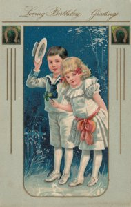 BIRTHDAY GREETINGS, 00-10s; Boy in sailor suit, girl in white dress, PFB 7372