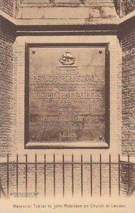 Massachusetts Plymouth Memorial Tablet To John Robinson On Church At Leyden A...