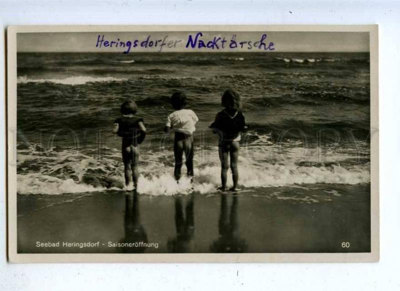 202792 Resort Heringsdorf NUDE KIDS in Sea Vintage PHOTO