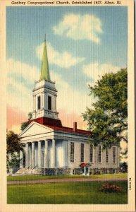 ALTON, Illinois  IL    GODFREY CONGREGATIONAL CHURCH  1942 Linen  Postcard