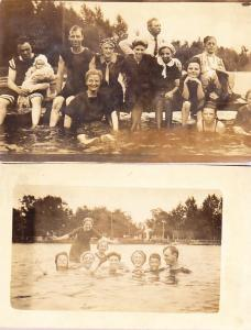 Two RP Cards of Swimming Party  1912