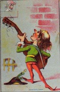 1880's Victorian Trade Card Renaissance-Man Serenading Lady Red Stockings P46