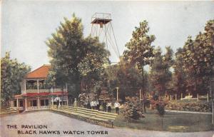 Rock Island Illinois~Black Hawk's Watch Tower Pavilion~Group of People~c1910 Pc