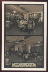Lincoln Hotel Coffee Cafeteria Restaurant Interior New York City Postcard
