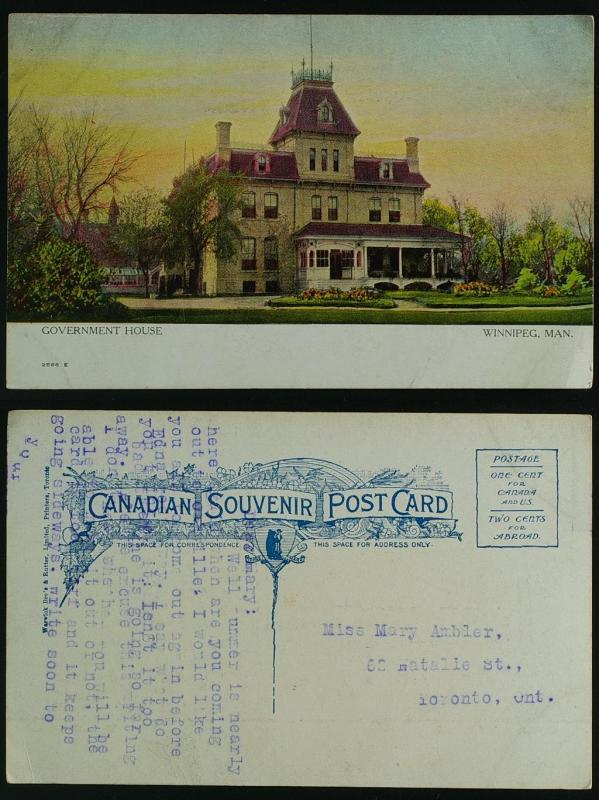 Winnipeg Manitoba Government house c1905-10