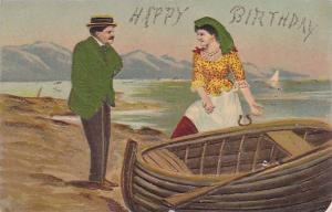 Man & Woman, Boat, Happy Birthday Greetings (Glitter Detail), 1900-1910s