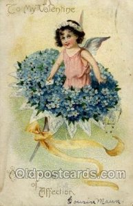 Valentines Day 1908 small tear top edge, yellowing stains on card, writing on...
