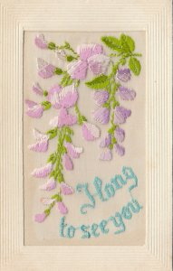 EMBROIDERED, 1900-10s; I long to see you, pink & purple flowers