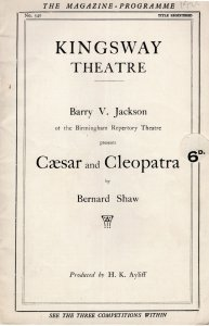 Ceasar & Cleopatra Bernard Shaw Kingsway Vintage Theatre Programme