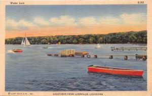 LEESVILLE LOUISIANA~WATER LURE~BOATING~SAILING GREETINGS POSTCARD 1940s