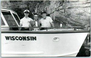 Wisconsin Dells RPPC Photo Postcard Excursion Tour Boat w/ Crew & Indian c1950s