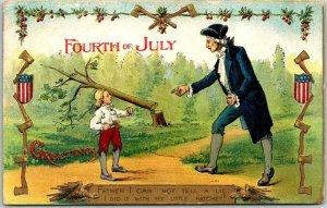 c1910 FOURTH OF JULY Patriotic Embossed Postcard Washington / Cherry Tree